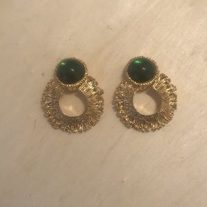 Vintage Emerald Green Lucite Givenchy Clip on